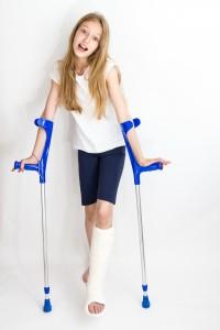 Girl with broken leg