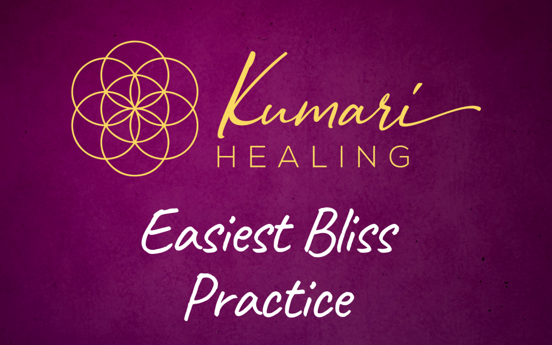 red banner with golden seed symbol, kumari healing, easiest bliss practice