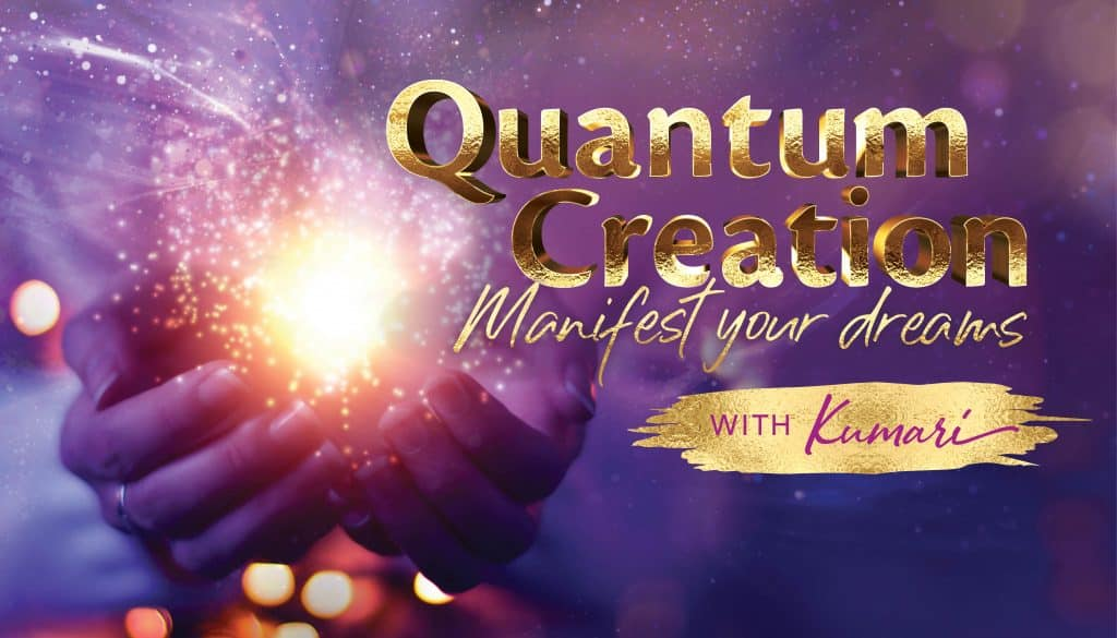 purple banner Quantum Creation course, two hands holding a beautiful light ball, manifest your dreams with Kumari