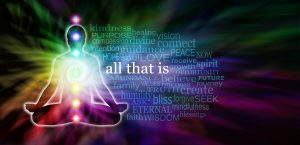 person in lotus position, rainbow color background, wording in the banner, all that is, kindness, purpose, connect, peace, bliss